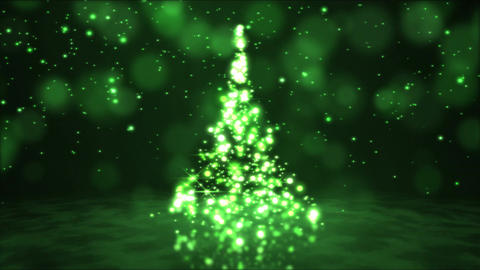 Sparkling Rotating Christmas Tree Animation - Loop Green