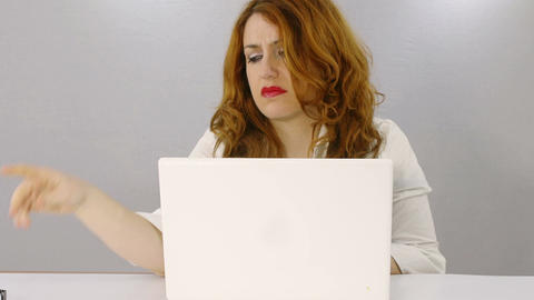 woman crazy for solving a difficult problem closing the screen of her laptop Footage