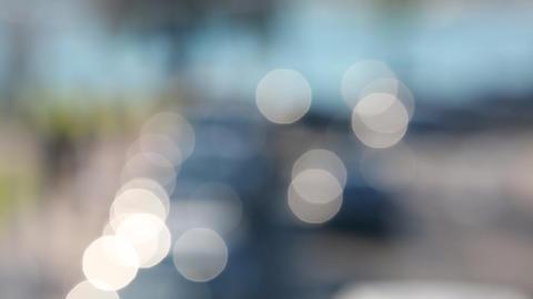 Circular Defocused Traffic Lights Moving Footage