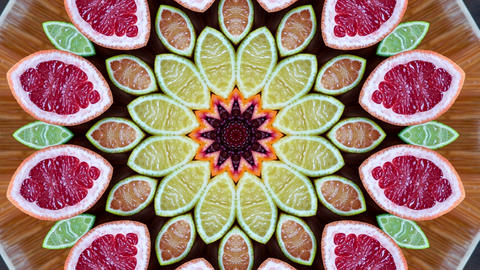 Hypnotic caleidoscope abstract pattern motion background - fruit citrus pattern Live Action