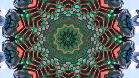 Hypnotic caleidoscope abstract pattern motion background - blue green pattern Live Action
