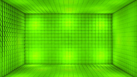 Broadcast Pulsating Hi-Tech Cubes Room Stage, Green, Events, 3D, Loopable, HD 애니메이션