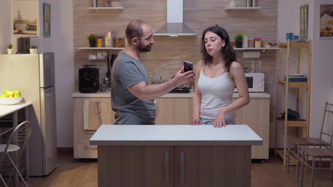 Unfaithful wife arguing to husband Live Action