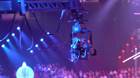 Spectators in a TV studio during TV recording television broadcast. Slow motion Live Action
