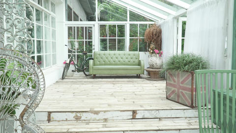 Glass house, living room, retro, old Live Action