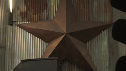 Old, iron sheet, stars, distant view close-up Live Action
