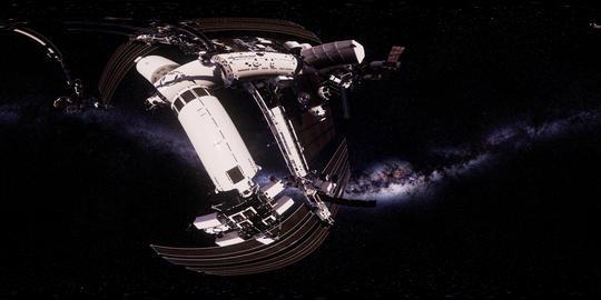 ISS in virtual reality 360 degree video. International Space Station Orbiting Acción en vivo