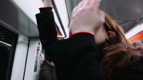 pensive woman traveling in the subway car Footage