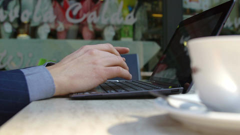 closeup footage on hands of businessman working with laptop Footage