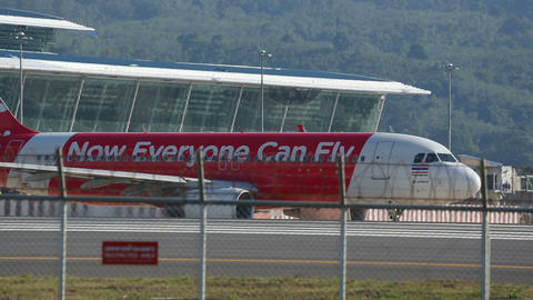 Airplane was taxiing on the runway before take-off Footage