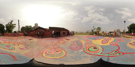 360VR video of outdoor gallery Rainbow village Footage