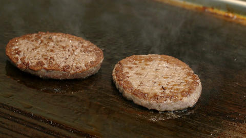 cook burgers on the grill: restaurant, fast food, steakhouse Footage