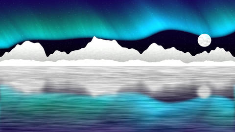 Arctic pole vector landscape with aurora Animation