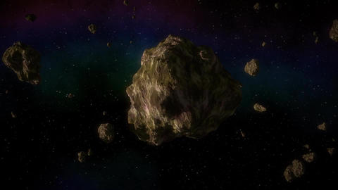 Asteroid in space generated video Animation