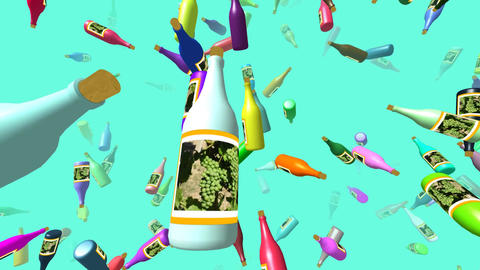 Flying bottles generated 3D video Animation