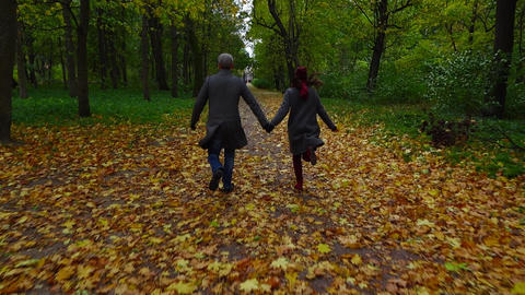 Couple run along dim autumn park alley, hold hands, yellow leaves on ground Footage