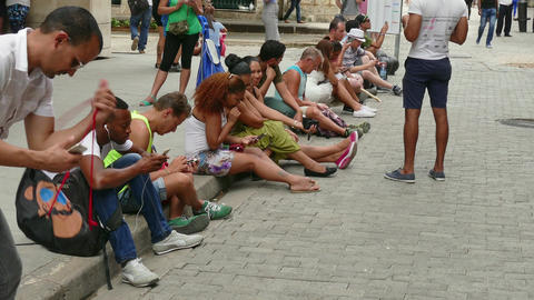 Wireless Technology Wifi Network For Cuban People In Havana Cuba Live Action