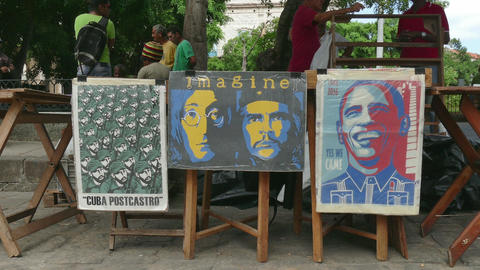 Posters And Souvenirs For Sale In Cuban Market Havana Cuba Footage