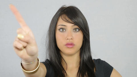 young and beautiful woman says no with a gesture of the hand Footage