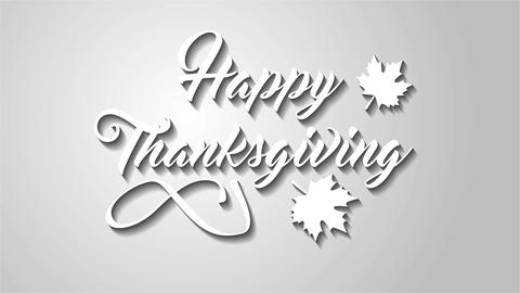 4K Thanksgiving greeting card with Happy Thanksgiving lettering text. Ifinity lo Animation