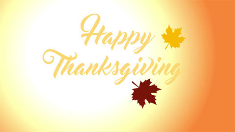 4K Thanksgiving greeting card with Happy Thanksgiving animation lettering text Animation