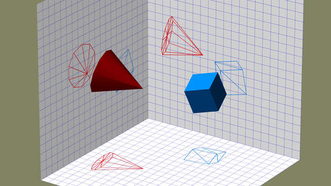 Descriptive geometry 3D projection seamless loop video Animation