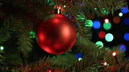 Christmas and new year decoration. Christmas tree decorations red ball with blur Footage