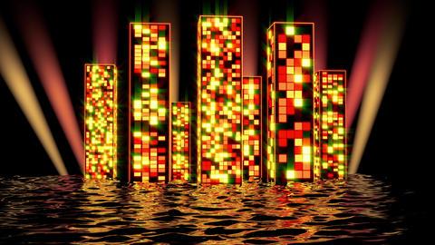 Neon yellow glow of skyscrapers Animation