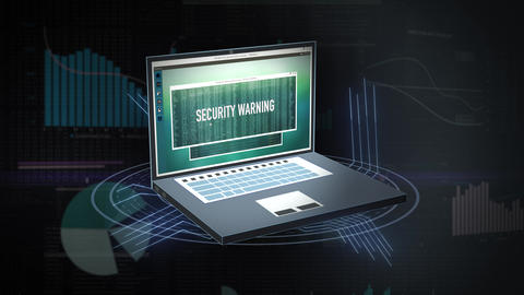 Internet security warning on animated screen of digitally generated laptop. Virus warning message on Animation