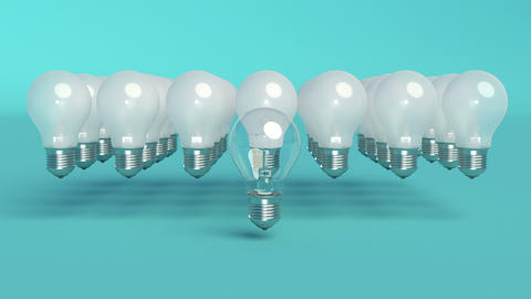 Outstanding light bulb Minimal idea concept Bright light able to loop seamless Live Action
