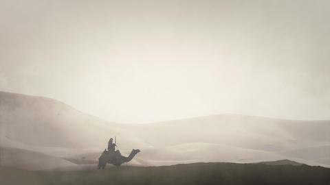 Arab Warrior in an Arabian Desert Riding Camel Live Action