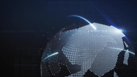 Digital network world globe made up of millions of pixels background animation loop Videos animados