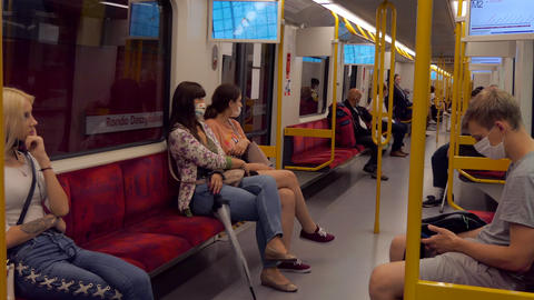 12 People Commuters Passengers On Subway Train Of Warsaw Poland Live Action