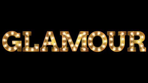 Light bulb letter tow way blinking aktion spelling the word Glamour Animation