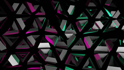 Abstract 3d Rendering Of Moving Geometric Shapes With Magenta And Cyan Lights Animation