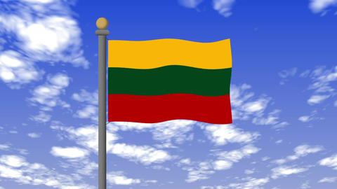 リトアニアの国旗 背景の空には雲が流れています。 CG動画