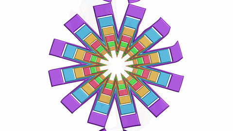 Abstract multicolored flower shape in rotation, pastel colors, design element on Animation