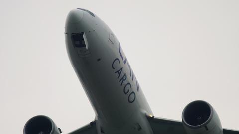 LAN Cargo Boeing 777 airfreighter departing Live Action