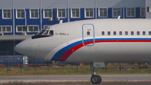 Tupolev Tu-154 taxiing to runway before departure Live Action