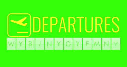 text flip of board of airport billboard departures with words name holiday time on chroma key green Live Action