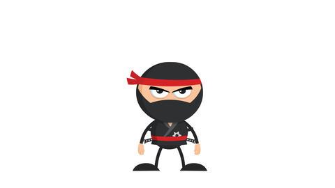 Angry Ninja Warrior Character With Two Katana Animation