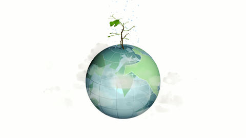Animated green globe on which a plant is blooming. Economic fight against climate change. Animation Animation