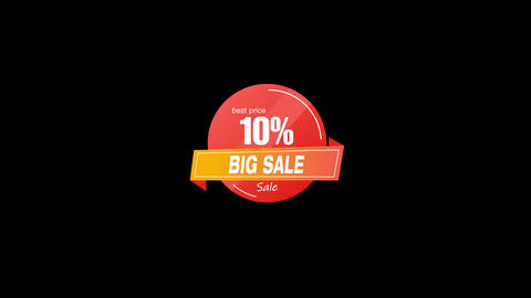 10% Percent Sales Discount Banner Animation with QuickTime / Alpha Channel / Prores 4444 Animation