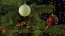 beautiful Christmas composition with Christmas balls and tree garland Footage