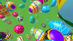 Flying easter eggs generated 3D video Stock Video Footage