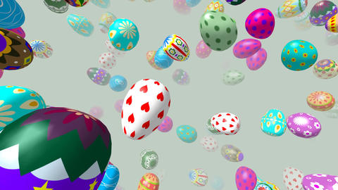 Flying easter eggs generated 3D video Animation