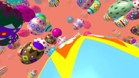 Flying easter eggs generated 3D video CG動画素材