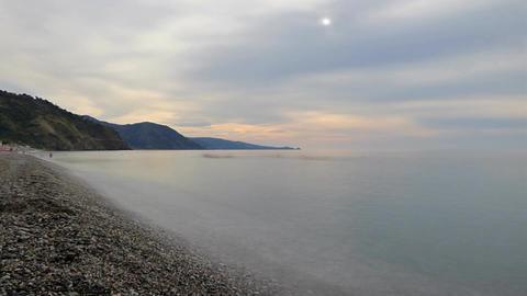 Evening on sea beach timelapse Footage