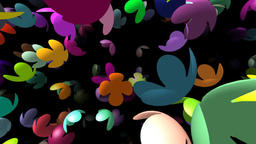 Flying flowers generated 3D video Animation
