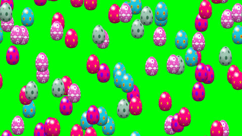 Falling easter eggs seamless loop video green screen Animation
